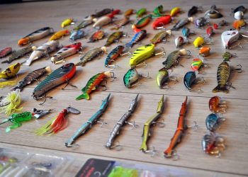 Lures on a wooden table