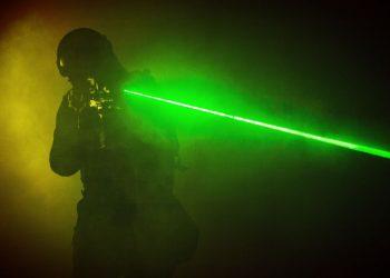 swat in the dark using a laser gun