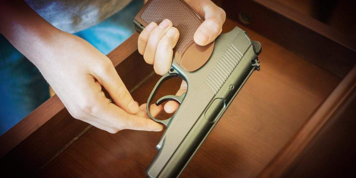 handgun inside drawer