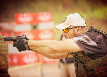 Man training on a shooting range