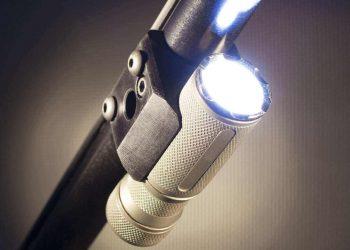 light mounted to a shotgun