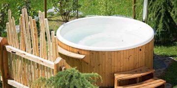 wooden hot tub outside