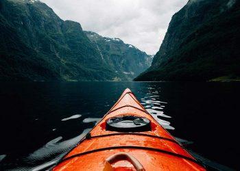 red kayak outdoors